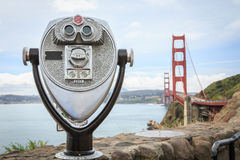 Binoculars at Golden Gate. Tourist binoculars at the Golden Gate Bridge, San Francisco, CA, USA Royalty Free Stock Photos