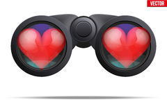 Binoculars with heart on lens. Realistic Binoculars with heart on lens. Symbol of looking for love. Editable Vector illustration Isolated on white background Royalty Free Stock Images