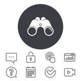 Binoculars icon. Find software sign symbol. Binoculars icon. Find software sign. Spy equipment symbol. Calendar, Locker and Speech bubble line signs. Video Stock Photos