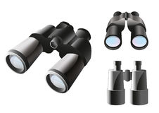 Binoculars icon set. With a three items on a different angle Stock Photos