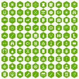 100 binoculars icons hexagon green. 100 binoculars icons set in green hexagon isolated vector illustration Stock Photo