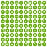100 binoculars icons hexagon green. 100 binoculars icons set in green hexagon isolated vector illustration stock illustration