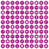 100 binoculars icons hexagon violet. 100 binoculars icons set in violet hexagon isolated vector illustration Royalty Free Stock Photography