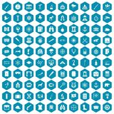 100 binoculars icons sapphirine violet. 100 binoculars icons set in sapphirine hexagon isolated vector illustration stock illustration