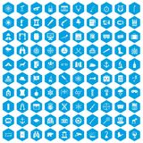 100 binoculars icons set blue. 100 binoculars icons set in blue hexagon isolated vector illustration Vector Illustration