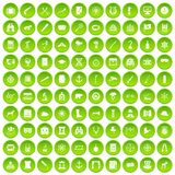 100 binoculars icons set green circle. Isolated on white background vector illustration Stock Illustration