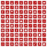 100 binoculars icons set grunge red. 100 binoculars icons set in grunge style red color isolated on white background vector illustration Stock Photography