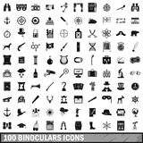 100 binoculars icons set, simple style Stock Image