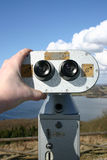 Binoculars landscape sightseeing. Landscape with Pay binoculars. Overlooking view of lake, sightseeing stock image