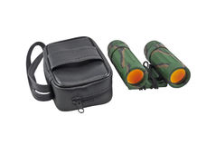 Binoculars and leather case Royalty Free Stock Photography