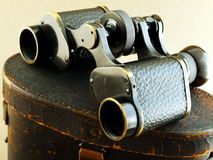 Binoculars on Leather Case Stock Images