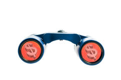Binoculars with dollar sign Stock Photography