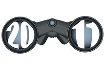 Binoculars looking into the 2011 future. Binoculars looking at 2011 future Stock Image