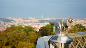 Binoculars for looking, panorama of the city from the observation tower. Royalty Free Stock Image