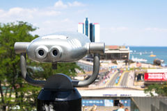Binoculars looking to the Odesa Harbour Stock Photography