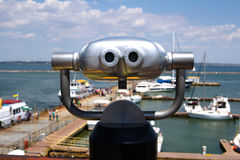 Binoculars looking to the Odesa Harbour Royalty Free Stock Photography