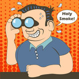 Binoculars man. Funny cartoon vector illustration of a man with a speech bubble, looking through a binoculars something thrilling royalty free illustration
