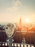 Binoculars in Manhattan Sunset Royalty Free Stock Image