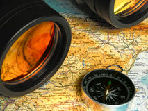 Binoculars and map Royalty Free Stock Photo