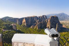 Binoculars and Meteora monastery in Greece Stock Photos