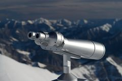 Binoculars in the mountains Royalty Free Stock Images