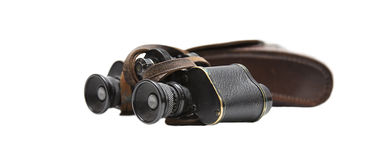 Binoculars. Old binoculars with a leather pocket royalty free stock image