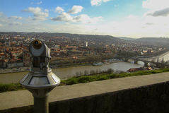 binoculars overlooking The city of wurzburg, germany Stock Images