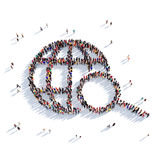 Binoculars people 3d. Large and creative group of people gathered together in the form of a globe, search. 3D illustration, isolated against a white background Royalty Free Stock Photos
