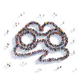 Binoculars people 3d. Large and creative group of people gathered together in the form of a pair of binoculars. 3D illustration, isolated against a white Royalty Free Stock Images