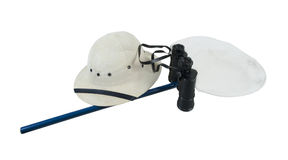 Binoculars Pith Helmet and Butterfly Net Royalty Free Stock Image