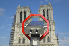 Binoculars pointed at Notre Dame Cathedral, Paris, France Stock Image