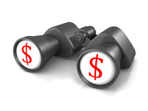 Binoculars with red dollar symbols on white glass Stock Photo