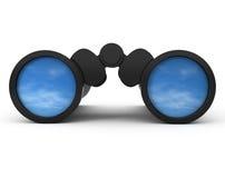 Binoculars Reflecting the Sky Stock Photography