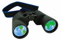 Binoculars Reflecting the world Royalty Free Stock Image