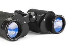 Binoculars and reflection of sky Royalty Free Stock Images
