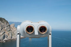 Binoculars and sea. Amazing landcape, beautiful destination. Wild nature royalty free stock photography