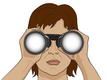 Binoculars searching for somerthing I see you. Binoculars searching for something I see you search decision Royalty Free Stock Image