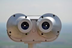 Binoculars for see the landscape from lookout tower Royalty Free Stock Image