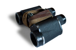 Binoculars with shadow on a transparent background. Black binoculars with shadow and strap, on a transparent background. Rail binoculars Stock Images