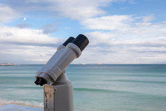 Binoculars for sightseeing from the highest point Royalty Free Stock Photo