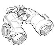 Binoculars sketch Royalty Free Stock Photo