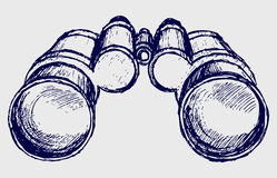 Binoculars sketch. Doodle style. Vector Stock Photo