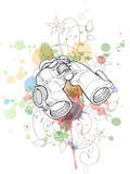Binoculars sketch & floral ornament Stock Photo