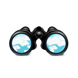 Binoculars with sky  on white Royalty Free Stock Photos