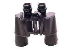 Binoculars Standing over white. A pair of binoculars standing on end.over white Royalty Free Stock Image