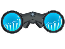 Binoculars with stock chart Royalty Free Stock Photos