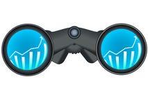 Binoculars with stock chart. Realistic binoculars with stock chart depicting future investment market growth stock illustration