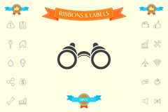 Binoculars symbol icon. Element for your design . Signs and symbols - graphic elements for your design Stock Photography