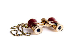 Binoculars for theater with chain. On white background Royalty Free Stock Photos