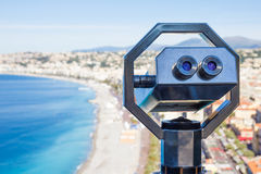 Binoculars to see the landscape in Nice, French Riviera Stock Photos